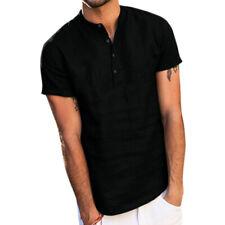 Mens Summer Long Sleeve Cotton Linen T-Shirt Tops V-Neck Henley Blouse Shirts