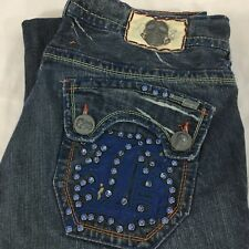 Laguna Beach Skulls Studs Distressed Straight Leg Loose Jeans Size 36 x 33