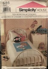 SIMPLICITY 9186 TEEN 50'S BEDROOM BED COVER & ACCESSORIES PATTERN UNCUT