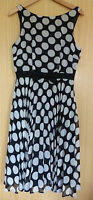 Peacocks Dress 10 Ladies Black Spotty Chiffon BNWT £35 Occasion Fit and Flare