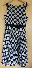 Peacocks Dress 10 Ladies Black Spotty Chiffon BNWT £35 Smart Summer