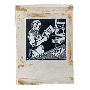 Edward C. Smith 20th Century Philadelphia Artist Self Portrait Signed Woodcut