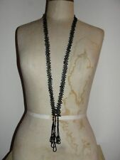 Victorian Jet Seed Bead Flapper Necklace