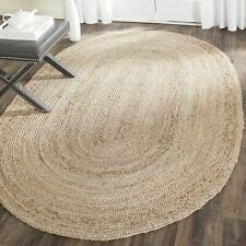 "4x6"" Feet Indian Braided Oval Jute Floor Rug Handmade Natural Rectangle Rug"