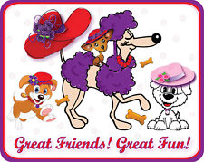 3X PURPLE T SHIRT RED HAT PUPPY DOG GREAT FRIENDS DESIGN FOR LADIES OF SOCIETY