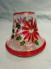 Yankee Candle Large Jar Crackle Glass Stained Christmas Floral Design Topper GC