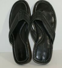 Tommy Bahamas Anchors Away Men's Black Leather Flip Flop Sandals Shoes Size 11 E