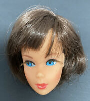 Vintage Brunette Hair Fair Barbie Doll Head Blue Eyes Gorgeous All Original