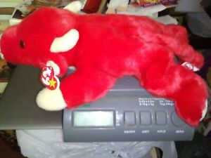 """1998 Ty Beanie Buddy Snort Red Bull 14"""" Large Red  2nd Gen Tag Plush Baby"""