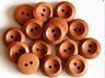 10 15mm Wooden Beech Buttons 2 Hole Flatback Sewing Craft UK SELLER Knitting