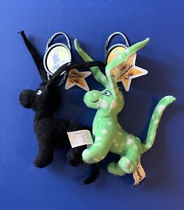 Neopets Gelert McDonald's Plush with Petpet Keychains Black Speckled