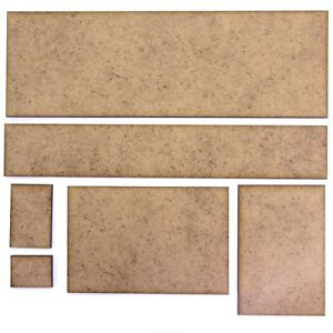 Wargame Rectangle Bases - 2mm MDF - Many Size Options (10 Pack). RPG Board Tile