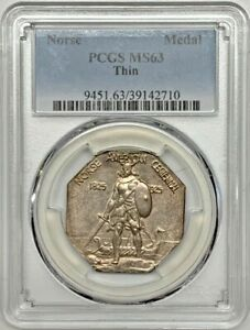 1925 Norse Medal PCGS MS63 Thin Silver Commemorative Registry Coin
