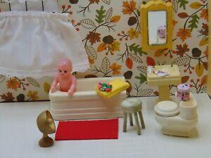 Strombecker 1942 COMPLETE BATHROOM Vintage Miniature Dollhouse Furniture *D29