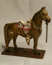 1949 Pot Metal Western Themed Horse Figurine on Base Hand Painted