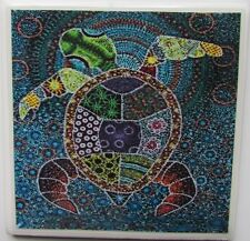 Set of 4 - Handmade Natural Stone Ceramic Tile Drink Coasters - Baby Turtles - H