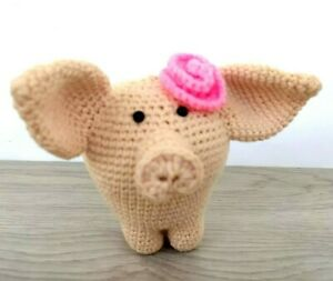 Crochet Pig Handmade Stuffed Farm Animals Pig Toy Knitted Toys Piglet Plush
