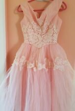 1950s vintage pink prom dress tea length tulle princess lace gown