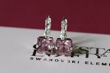 Silver Plated Square Leverback Earrings with Light Amethyst Swarovski Crystal