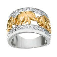 Gold Lucky Elephant Ring Wedding Band White Gold Filled Men/Women Gift Size 6-10