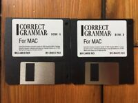 Vintage 1990 Correct Grammar 3.5 Floppy Disk Installation Software Mac Macintosh