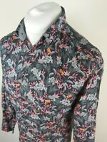 Mens Ted Baker The Ferm Floral Leaf Shirt 3 Medium 40 Chest Great Condition