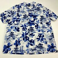 George Button Up Shirt Men's 2XL XXL Short Sleeve White Blue Floral Hawaiian