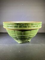 Antique 1920s Nelson McCoy Pottery Green Stoneware Mixing Bowl #4 Shield Mark 8