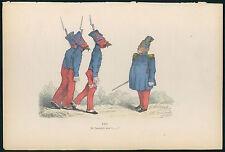 GRANDVILLE antique Lithograph print Metamorphoses Dressed soldier dog turkey