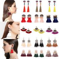 Fashion Women Bohemian Geometric Tassel Earring Fringe Crystal Hook Drop Jewelry