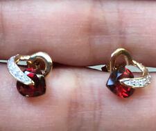 10k Yellow Gold Natural Garnet Heart Diamond Stud Earrings