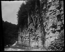 Antique 4x5 Glass Plate Negative Cliff Next to Running Water (V4430)