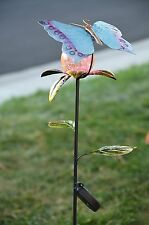 Solar Powered Metal Art Butterfly Crackle Glass Ball Light. 40