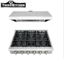 Thor 36 Inch 900 Cfm Wide Range Hood+36'' Stainless Steel 6 Burner Gas Range Top