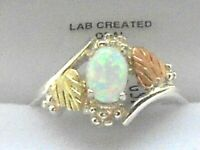 NEW Black Hills Gold and Silver with lab Opal ladies Ring Size 7-8 or 9  wBox