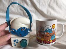 VINTAGE 1982 Illco SMURFS Radio + Mug Collectibles Lot COOL