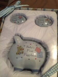 NIB Baby's First Piggy Bank Tooth and Curl Box Gift Baby 3 Piece Keepsake Set