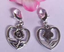 ♥ Charm Anhänger Rose im Herz Liebe Blume für Armband silber ♥ AH294