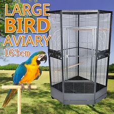 New Extra Large Premium Corner Parrot Aviary Bird Cage With Wheels Stainless