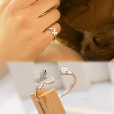 Chic Fashion Silver Plated Rhinestones Butterfly Opening Adjustable Ring  H2D3