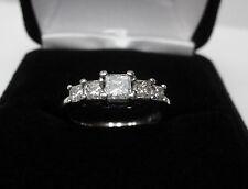 Five 5 Stone Princess 0.95 CTW Diamond Engagement Ring 10k White Gold Sz 6.25