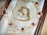 VINTAGE JEWELLERY Sparkling Amethyst Diamond Crystal Rhinestone Necklace