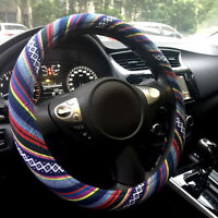 "Automotive Boho Ethnic Flax Sofy Universal Car Steering Wheel Cover Grip 15"""