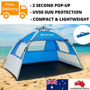 Pop Up Beach Shelter UV50 Camping Hiking Shade Tent w Carry Bag Pegs Sandbags