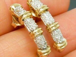 9ct Gold 0.20ct Diamond Half hoop Hallmarked Earrings