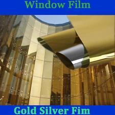 "Gold&silver Window Film One Way Mirror Mirrored Glass Privacy Stickers 20"" x 60"""