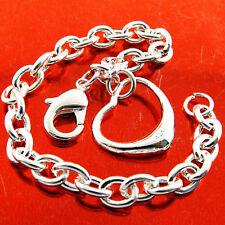 Silver S/F Chunky Link Heart Charm Bracelet Bangle Genuine Real 925 Sterling