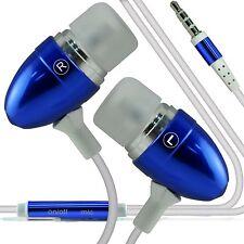Dark Blue Earbud Handsfree Earphones With Mic For Acer Liquid Jade