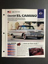 1959 - 1960 Chevrolet El Camino IMP Hot Cars Spec Sheet Folder Brochure Awesome