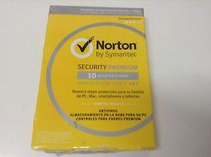 NORTON BY SYMANTEC SECURITY PREMIUM . 10 DISPOSITIVOS . 1 AÑO